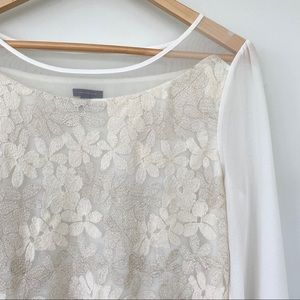 Ann Taylor blouse with embroidered flowers
